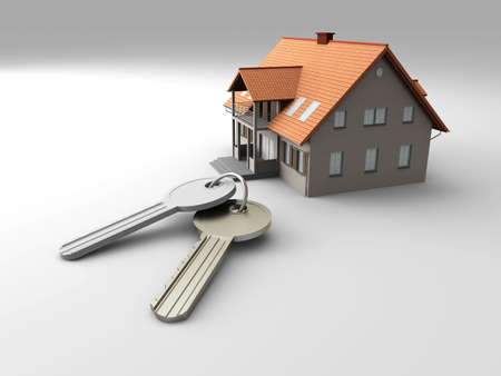 House and a pair of Keys. 3D rendered Illustration. illustration