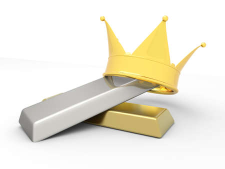 gold bar earn: A crown with gold and silver. 3D rendered illustration..