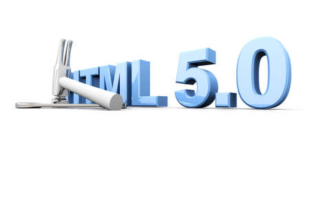 HTML 5.0 tools. 3D rendered Illustration. Isolated on white. illustration