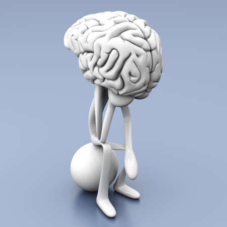 A cartoon figure con a huge brain. 3D rendered illustration.  illustration