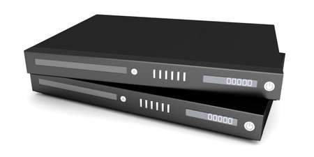 Two generic bluray  DVD devices. 3D rendered Illustration.