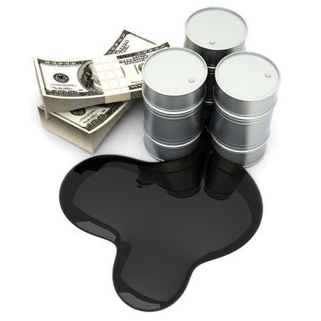 Een olie barrell met dollar biljetten. 3D Illustratie. Geà ¯ soleerd op wit. Stockfoto