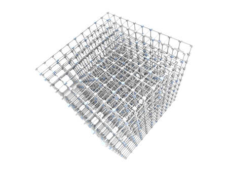 3D rendered Illustration. A 3 dimensional grid. Isolated on white. illustration