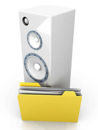 A Audio speaker with a Folder. 3D rendered illustration. illustration