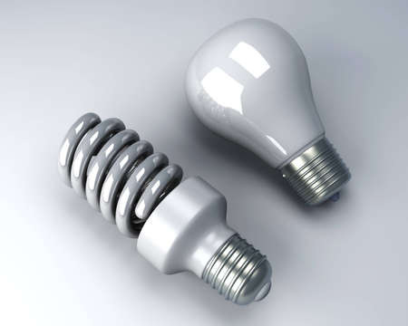A classic and a modern energy saver light bulb. 3D rendered Illustration. illustration