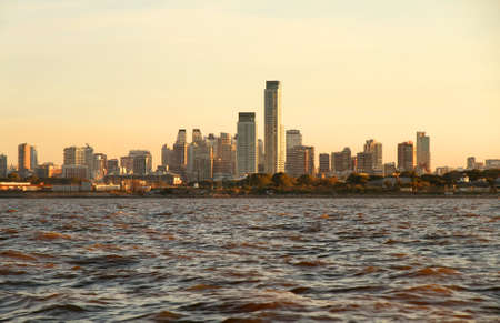 capital cities: The skyline of Buenos Aires, Argentina. View from the Rio de la Plata.