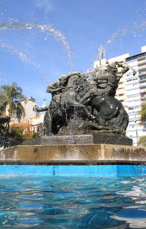 montevideo: The Fountain  Monumento de Entrevero on the Plaza de Entrevero in Montevideo, Uruguay, South America.