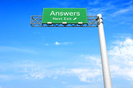 answers highway: 3D rendered Illustration. Highway Sign next exit to get Answers. Stock Photo