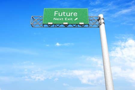 positivism: 3D rendering illustrazione. Highway Sign Future prossima uscita. Archivio Fotografico