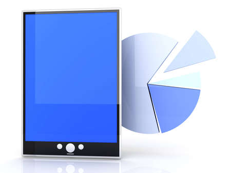Tablet PC stats and analytics. 3D rendered illustration. illustration