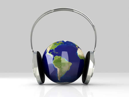 The music of America. Headphones and a world globe. 3D rendered Illustration.  Stock Illustration - 12342723