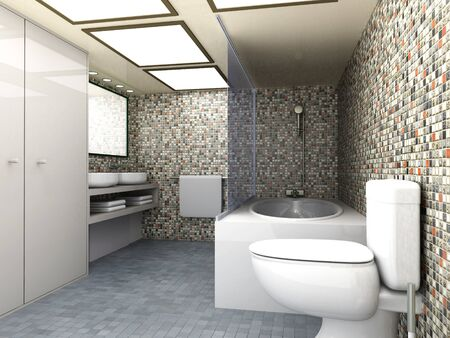 toilet sink: 3d rindi� la ilustraci�n moderna de visualizaci�n de interiores de ba�o Foto de archivo