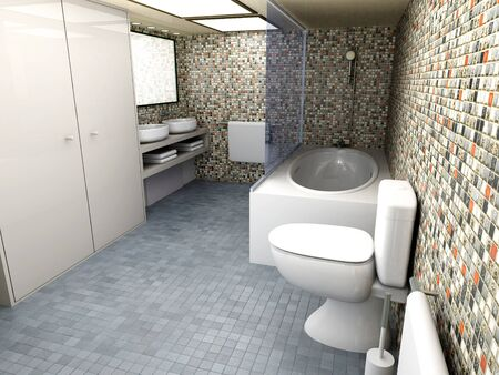 domestic bathroom: 3D rendered Illustration  Modern Bathroom interior visualisation  Stock Photo