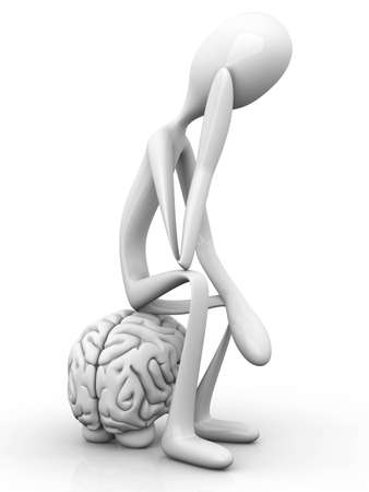 A cartoon figure con a huge brain  3D rendered illustration  Isolated on white  illustration