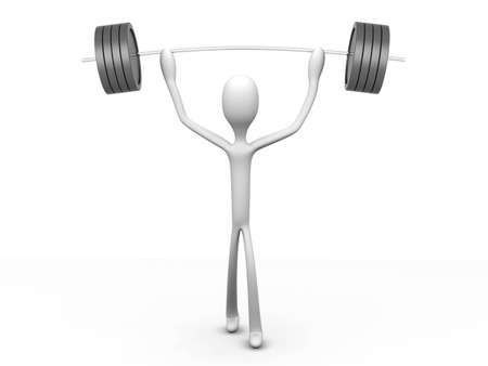 weight lifter: A cartoon weight lifter  3D rendered Illustration  Isolated on white