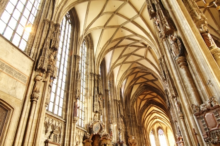saint stephen cathedral: Interior of the Cathedral of  St  Stephan in Vienna, Austria