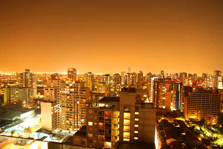 A nightly panorama of Santiago de Chile, South america. photo