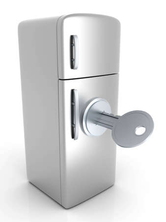 A locked, classic Fridge. 3D rendered Illustration. Isolated on white. illustration