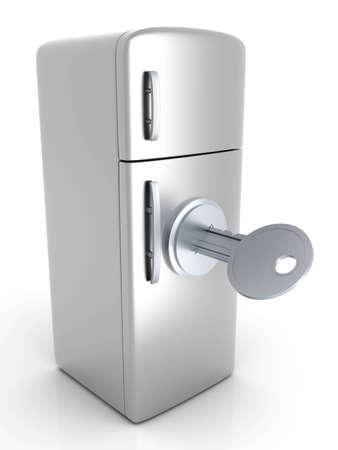 A locked, classic Fridge. 3D rendered Illustration. Isolated on white. Stock Illustration - 12723693