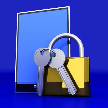 A secure Tablet PC  3D rendered illustration  illustration