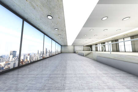 A empty office with the Skyline of Sao Paulo, Brazil, in the Background  Architectural visualisation  3D rendered Illustration Stock Illustration - 12719552
