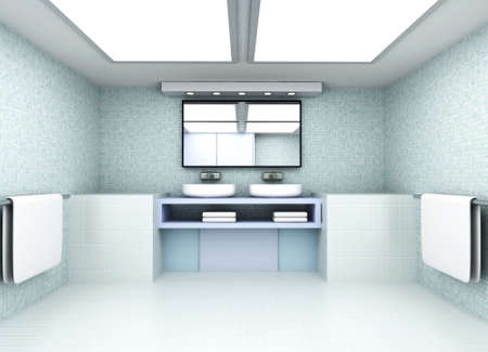 domestic bathroom: 3D rendered Illustration  Modern Bathroom interior visualisation  Stock Photo