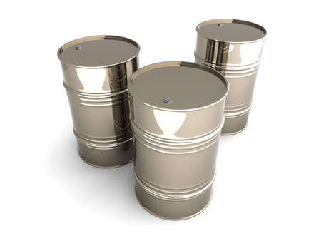 Three industrial barrels  3D rendered Illustration  Isolated on white  illustration