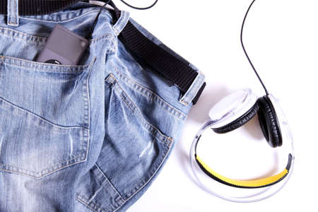 Headphones on Jeans, ready to go  photo