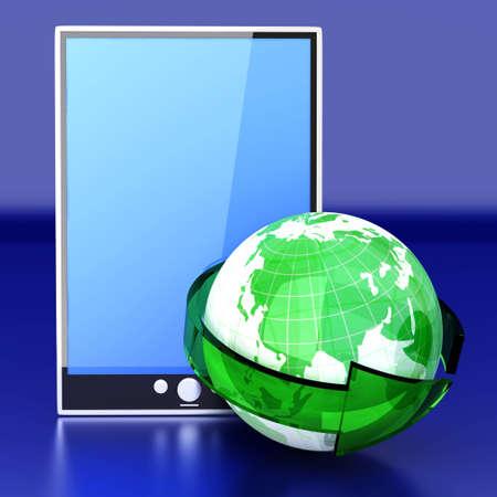 A connected Tablet PC  3D rendered illustration  illustration