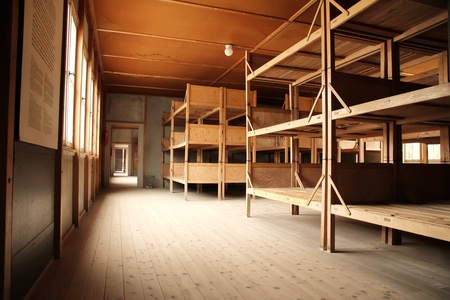 Dormitory in the Dachau Concentration camp memorial.