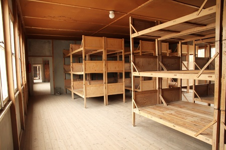 nazism: Dormitory in the Dachau Concentration camp memorial.
