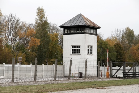 Watchtower in the Dachau Concentration camp memorial.