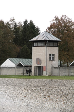 extermination: Watchtower in the Dachau Concentration camp memorial.