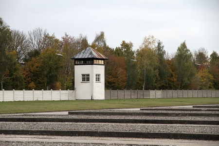 concentration camp: Watchtower in the Dachau Concentration camp memorial.