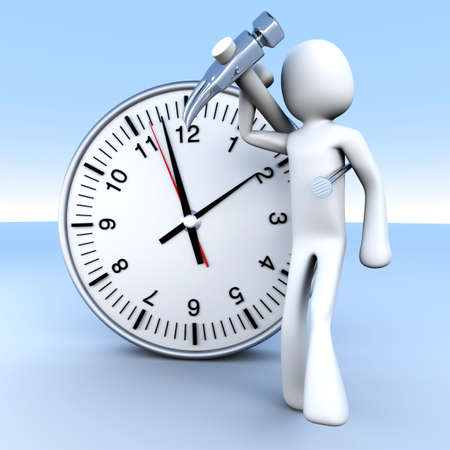 A cartoon figure with a clock  3D rendered Illustration   illustration