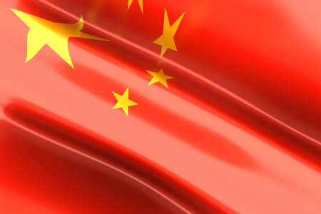 chinese flag: The Flag of China  3d rendered illustration  Stock Photo