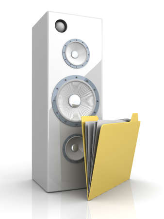 A Audio speaker with a Folder  3D rendered illustration  illustration