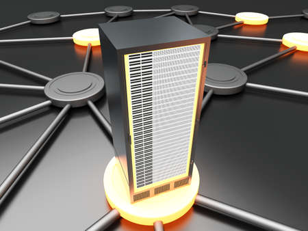 Connected cloud of 19 inch server towers  3D rendered illustration  Stock Photo