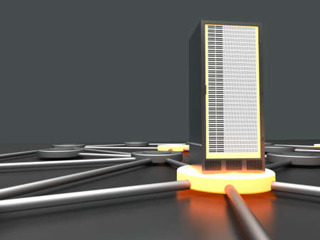 fileserver: Connected cloud of 19 inch server towers  3D rendered illustration  Stock Photo
