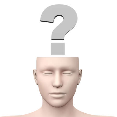 A generic questioning person  Question mark in the head  3D rendered Illustration  illustration