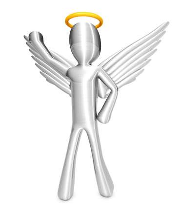 gloriole: Un �ngel de dibujos animados aislado en blanco 3d rindi� la ilustraci�n Foto de archivo