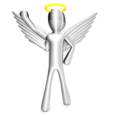 patronize: A cartoon angel isolated on white  3D rendered Illustration