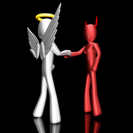 patronize: A cartoon Angel and Devil handshaking on a agreement  Stock Photo