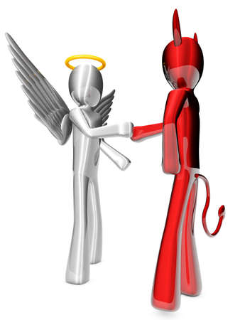 underworld: A cartoon Angel and Devil handshaking on a agreement  Stock Photo