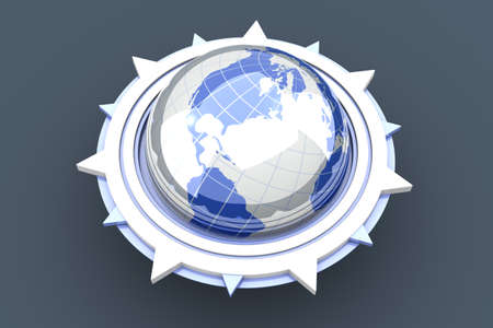 A global compass symbol  3D rendered Illustration Stock Illustration - 13223617