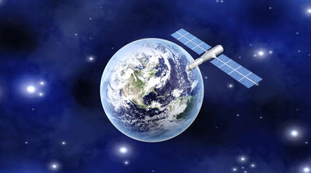 A satellite orbiting over the earth  3D rendered Illustration  illustration