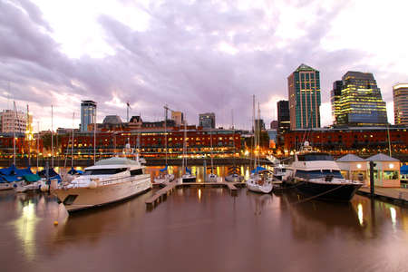 Nightly panorama of the Puerto Madero in Buenos Aires, Argentina