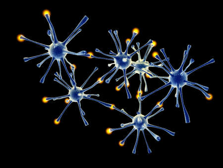 micro organism: 3D rendered Illustration  Interacting neuronal cells  Stock Photo