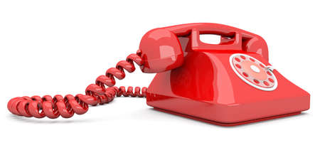 A red, classic Telephone  3D rendered Illustration  Isolated on white  illustration