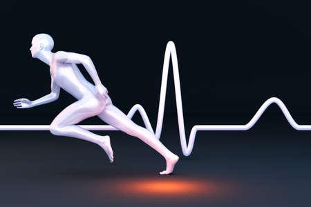 electrocardiograma: La medici�n de las propiedades de la fisiolog�a en un corredor 3D Ilustraci�n prestados